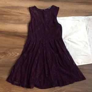 Express Sleeveless Plum Lace Skater Dress Size M
